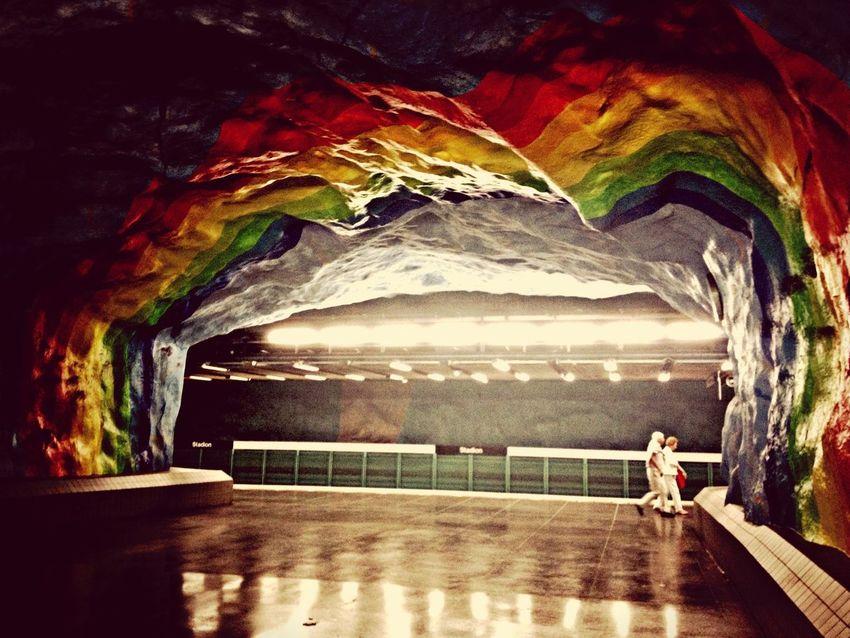Rainbows underground Metro T-Bana T-Bana Art