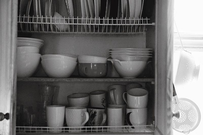 Dishes Plates Cups Bowls Black And White Shelf Stack Domestic Kitchen Close-up Shelves Kitchen Utensil