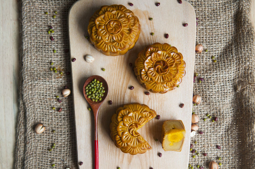 Traditional moon cakes to celebrate mid autumn festival Dessert Singapore Taiwan Vietnam Chinese Food Food And Drink Freshness Mid Autumn Festival Moon Cakes No People Still Life Table Traditional
