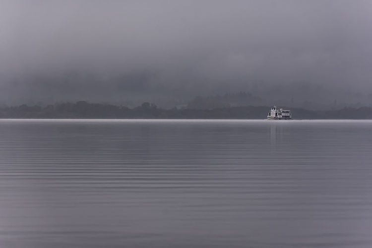 Scenic view of sea in foggy weather