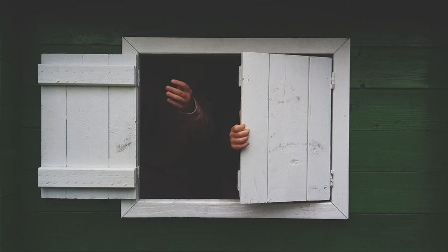 Shutters White Childhood Hide And Seek Playground Wooden House Window Human Hand Privacy Close-up Finger Opening Hand 10