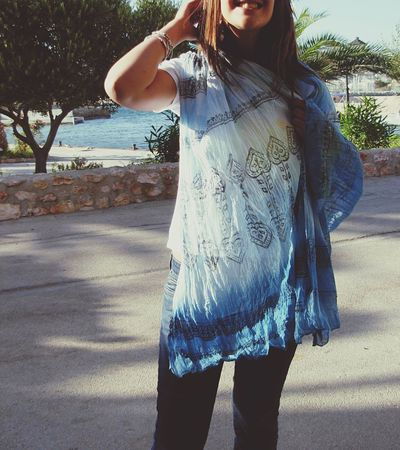Scarf Turquoise Blockprint Tiedye South Of France