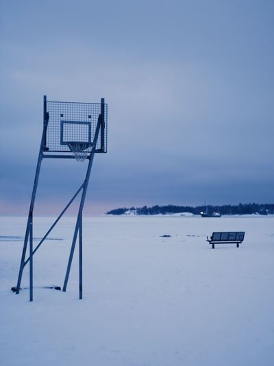 Winter hoops :O Sea Sunset Nature Lonely Sky Winter Snow Outdoors Bench Tranquility Helsinki Calm Finland By The Sea Beauty In Nature No People Basketball Hoop Tranquil Scene Cold Temperature Scenics - Nature Land Absence Gh5 Empty