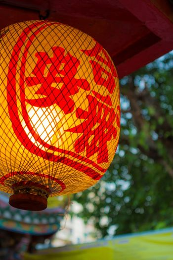 Chinatown Chinese Thai Temple Worship Buddhism Lamp Light Lantern Traveling Traditional Culture Old Red Yellow Orange Colorful Ceremony Hanging Bamboo Paper Stick Lean Texture Twilight