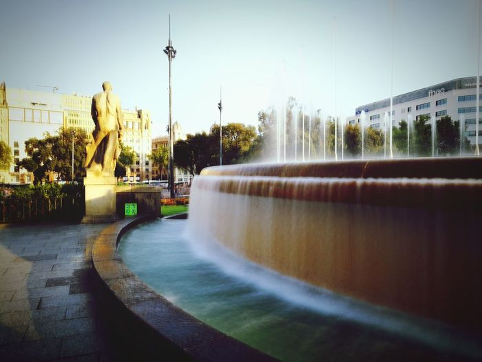 Water Fountain Motion Outdoors Water Slide Parque  City Barcelona Fuentes