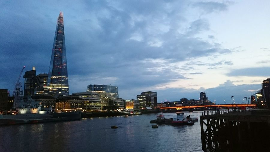 Showcase June The Shard over the Thames Architecture Water Tall - High Evening Sky City Eye4photography  EyeEm Best Shots No People Capital Cities  Famous Place Building Exterior International Landmark Travel Destinations Travel Tourism Outdoors Cityscape Cityscapes Cloud - Sky Night EyeEm Gallery River Thames Riverside Bridge - Man Made Structure