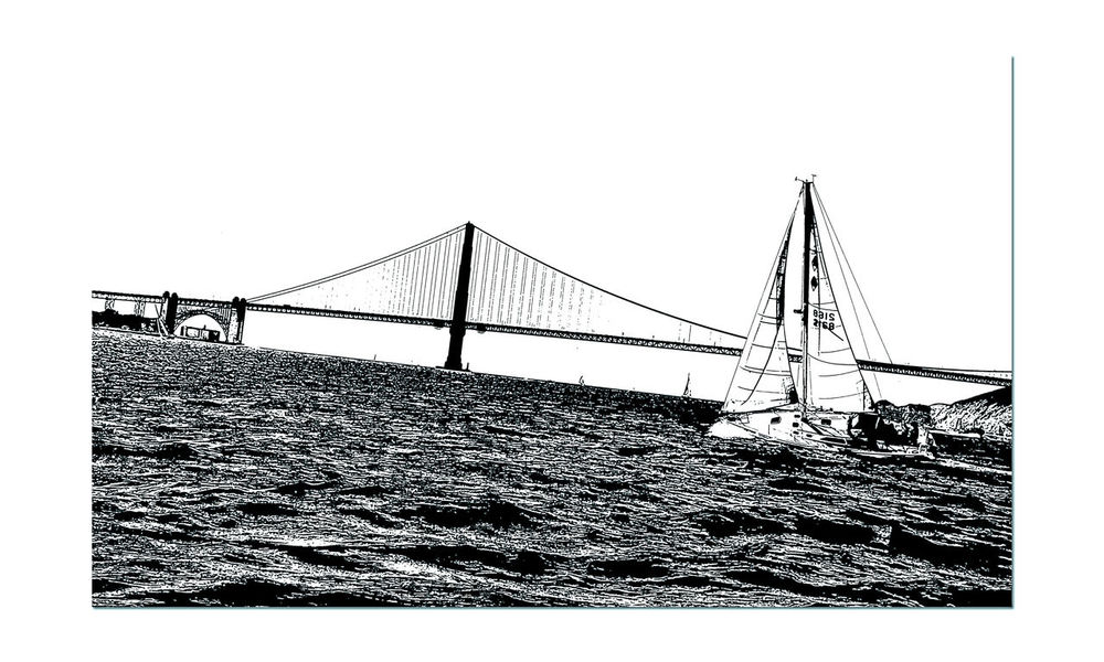 Sailing The Bay 2 Aboard The Alma Yacht San Francisco Bay Golden Gate Bridge Fort Point Lighthouse Bridge Arch Yachting Bridge Tower Bridge Span Sailboats Sailing Monochrome Stamp Effect Creative Edit Black & White Black And White Photography Black And White Black And White Collection  Seascape Watersports Sports Monochrome Photograhy Landscape_Collection Landscape_photography