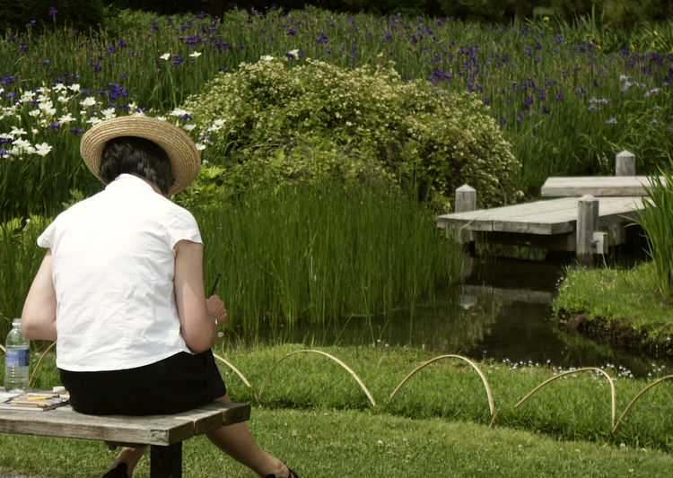 Rear View Of Woman Sitting On Bench On Field At Park