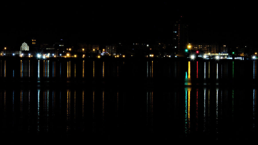 Architecture City City Lights Cityscape Colored Lights Harbor Harbor Lights Illuminated Night Night Lights Night Photography Nightscape No People Outdoors Reflected In Water Reflected Light Reflection Seaside Town Travel Destinations Water Water And Reflection Waterfront