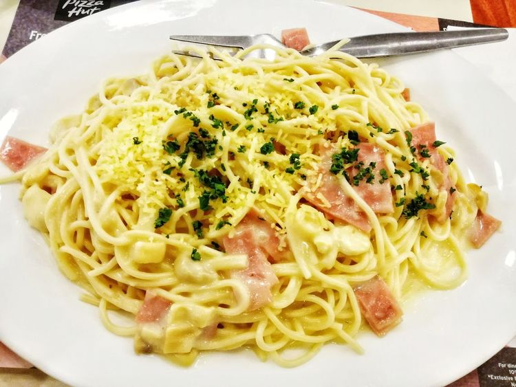 creamy carbonara EyeEmNewHere Pasta Savory Food Ham Noodle White Sauce Plate Fork Serving Size Creamy Carbonara Plate Food Stories Lunch Dinner Italian Food Food Food And Drink Freshness Ready-to-eat Serving Size Plate Spaghetti Gourmet Meal Indulgence Temptation Cooked Healthy Eating Indoors  No People