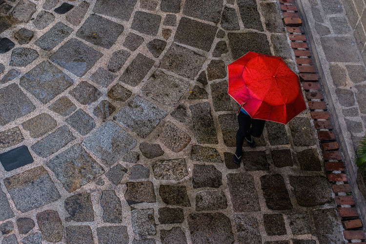 Red Umbrella Cobblestone Day Eye4photography  EyeEm Best Shots EyeEm Gallery Eyeem Philippines Footpath Multi Colored No People Outdoors Paving Stone Pedestrian Walkway Red Stone Material Tiled Umbrella Vibrant Color