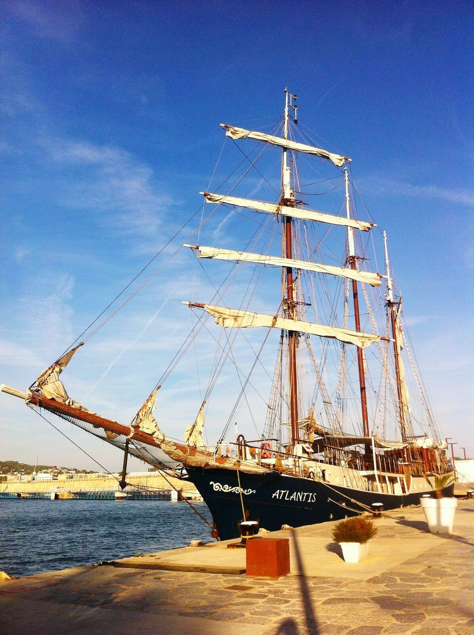 nautical vessel, transportation, sky, sea, mode of transport, mast, day, outdoors, ship, no people, water, blue, moored, cloud - sky, tall ship, sailboat, harbor, commercial dock, sailing ship, nature, sailing