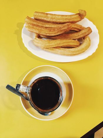 Chocolate Hot Chocolate Chocolate Con Churros Churrosconchocolate Churros Spanish Food Yellow Table Food Indoors  Close-up Hot Drink Food And Drink View From Above High Angle View Sweet Food And Drink No People Paint The Town Yellow