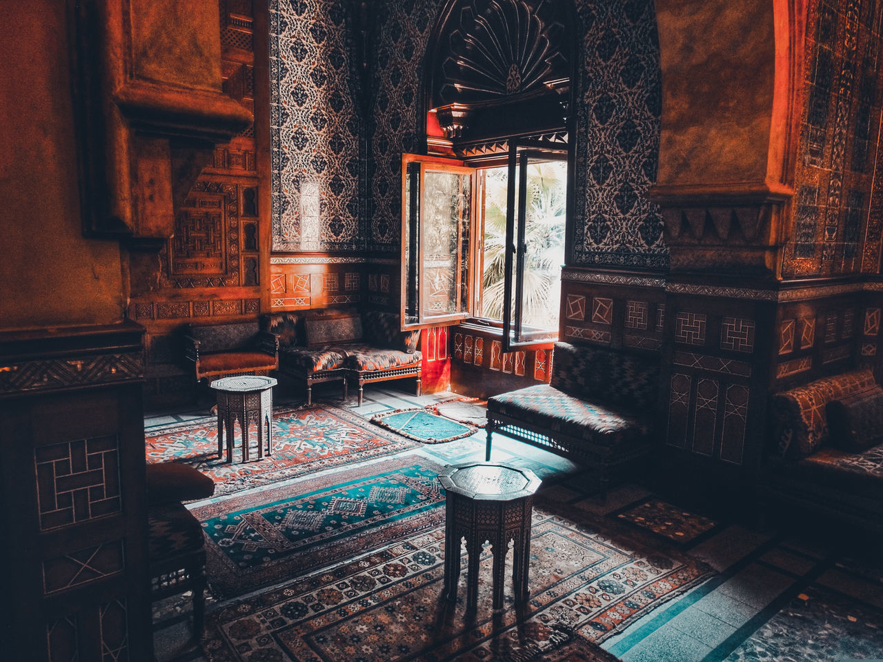 Wooden tables and chairs in old palace