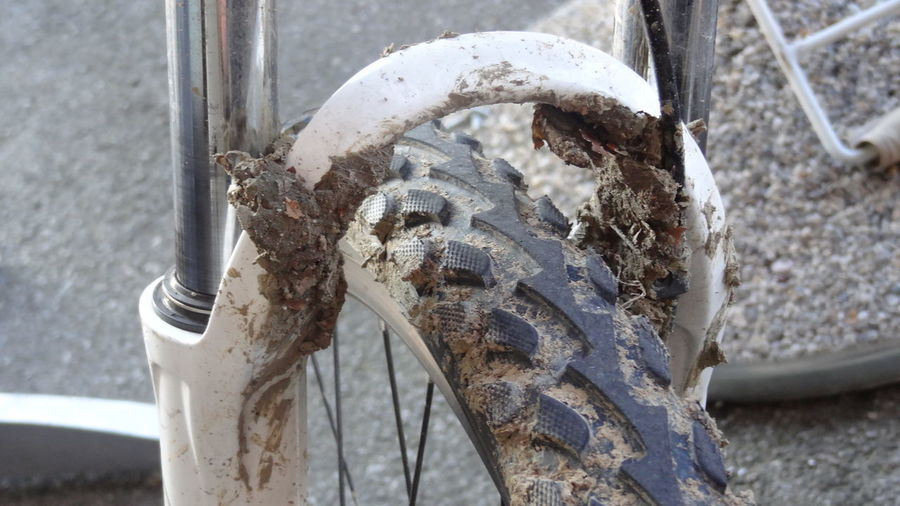 Close-up of damaged bicycle tire