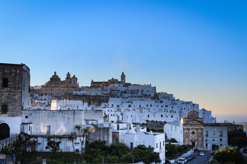 Architecture Building Exterior Sky Built Structure Clear Sky Building Copy Space City History The Past Nature No People Blue Residential District Travel Destinations Ancient Day Tree Old Outdoors Cityscape Ancient Civilization Puglia Italy