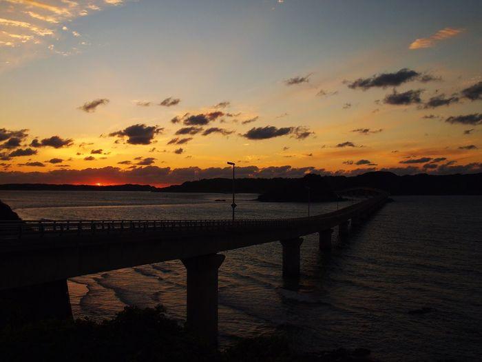 Sunset in Tsunoshima Yamaguchi Japan Bridge Sea Seaside