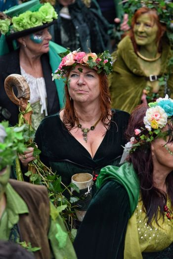 Jack In The Green Festival Jack In The Green East Sussex May Day 2017 Togetherness Adults Only Portrait Women Real People Two People Headshot Red Hair Pagan Festival Pagan Fruit Multi Colored Green Leaf Nature Hastings Mask - Disguise Arts Culture And Entertainment One Person Disguise Freshness
