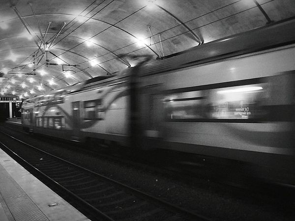Samsunggalaxycore Sncf EyeEm Monaco Black And White At The Train Station France Trainphotography