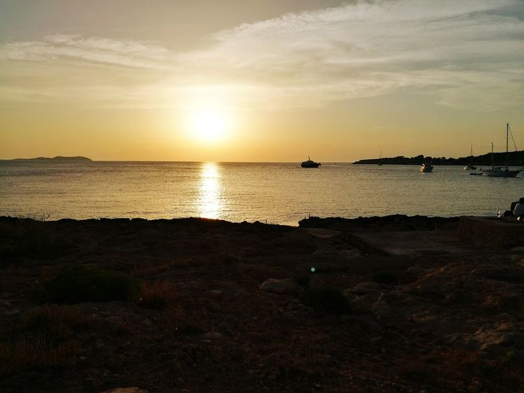 Sun Sunset Beach Sea Horizon Over Water Cloud - Sky Sand Vacations Travel Destinations Nature Ibiza🇪🇸 Ibiza2017 Holidays ☀ Blue Wave Beach Photography Big Blue Sea