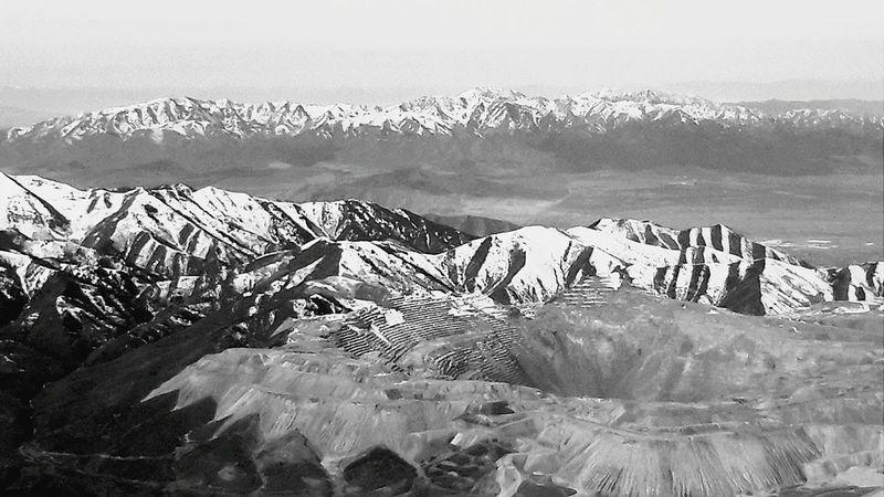sky Plane Black & White Mine Birds Eye View Salt Lake City