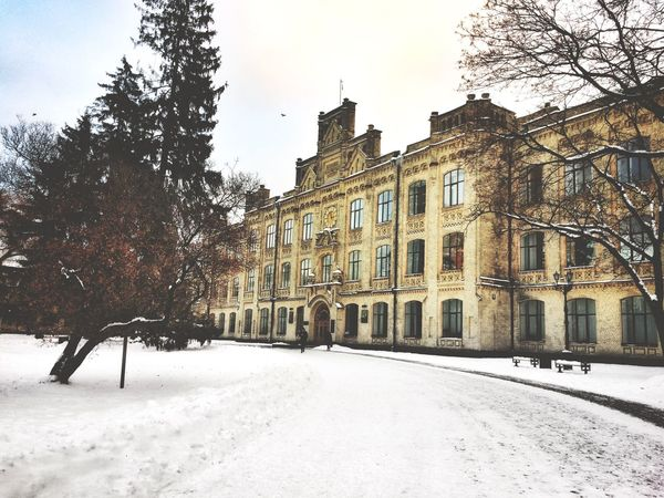 Snow Winter Cold Temperature Building Exterior Architecture Built Structure City Kiev Ukraine KPIlook
