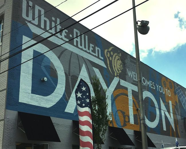 Dayton Text Sign Communication Western Script Built Structure Architecture Building Exterior Sky Information Outdoors Road Information Sign