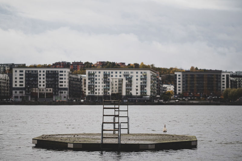 Swimming raft with a ladder in Årstaviken and södermalm - stockholm, sweden