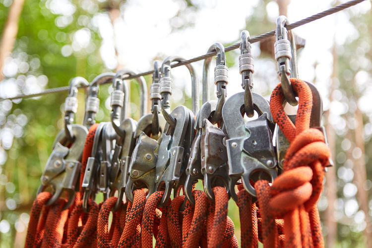 Close-up of ropes hanging