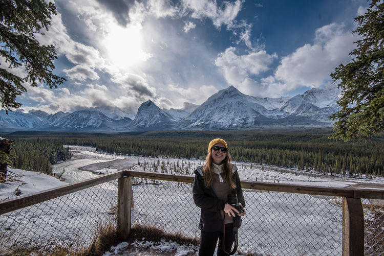 Holiday photo taken from the Ice fields parkway - Jasper National Park - Canada Camera Happy Hiking Taking Photos Travel Winter Adventure Canada Cold Temperature Confident  Female Jasper Jasper National Park Mountain Mountain Range Photographer Powerful Range Ski Clothing Snow Strong Toque  Travel Destinations Valley Women