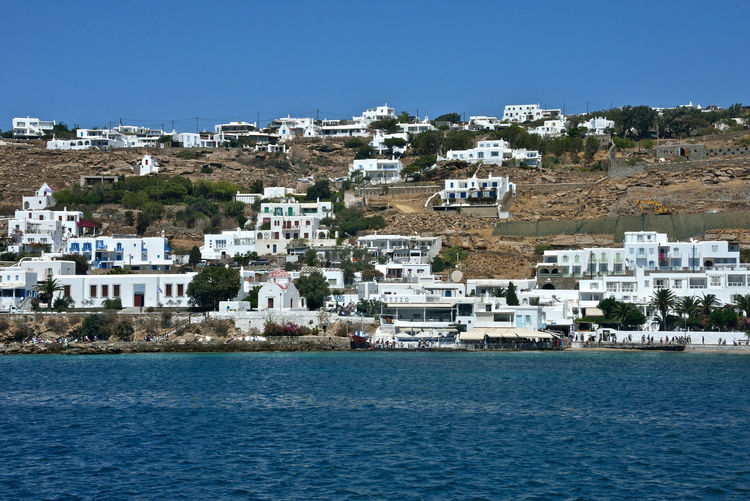 panoramic seaside view of Mykonos with white buildings Building Exterior Architecture Water Built Structure Residential District Sea Building City Waterfront Sky Nature House Day No People Town Land Outdoors Plant Blue View Into Land TOWNSCAPE Mykonos,Greece Seaside View Holiday Travel Destinations Panorama Panoramic View White Buildings Greek Architecture