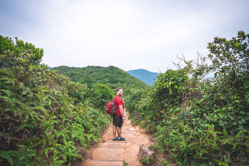 Taking in the views on the Dragon's Back trail. Adventure ASIA Beauty In Nature Dragon's Back Hike Hiking Hikingadventures Hong Kong Mountain One Man Only One Person Travel Travel Photography Traveling