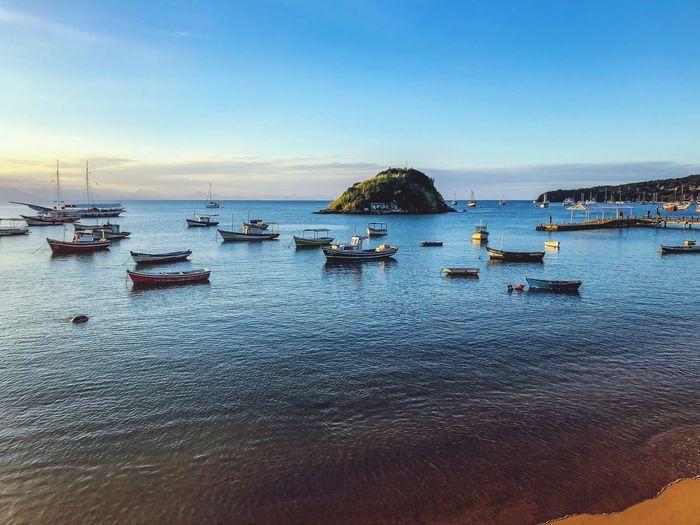 Brazil Fishboat Boats Port Harbor Water Sky Sea Nature Land Scenics - Nature Beauty In Nature Marina Idyllic Outdoors