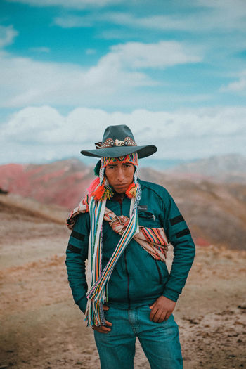 Colourful Peru Travel Travel Photography Adult Clothing Cloud - Sky Day Front View Land Leisure Activity Lifestyles Looking At Camera Men Mountain Mountain Range Nature One Person Outdoors Portrait Portrait Photography Portraiture Real People Sky Standing The Portraitist - 2018 EyeEm Awards The Traveler - 2018 EyeEm Awards