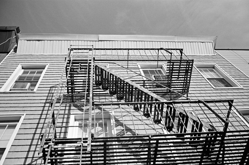 Fire escape, Brooklyn, January 2016 Architecture Low Angle View Steps And Staircases Fire Escape Building Contax Contaxt3 Neopan Neopan Acros 35mm Film Film Photography Believeinfilm