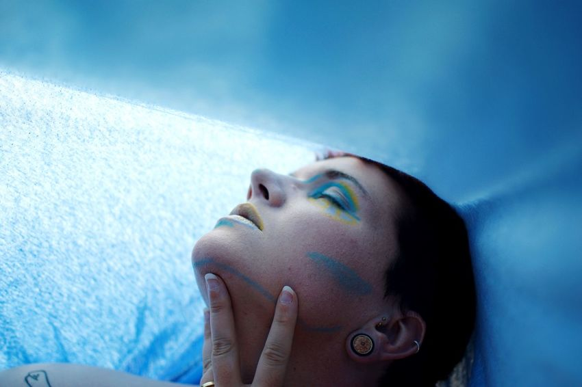 That's me in the corner. Blue One Person Headshot Young Adult Portrait Adult Women Human Face Human Body Part Lifestyles Make-up Indoors  Relaxation Contemplation