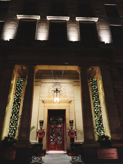 Architecture Built Structure Entrance Illuminated Building Low Angle View Lighting Equipment Railing Staircase Building Exterior Night No People Outdoors Religion Steps And Staircases Door Architectural Column Arch History Ceiling