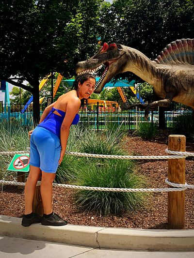 Dinosaur Eating Hurt Dinosaurs Taking Photos Check This Out Eye4photography  Hanging Out Park