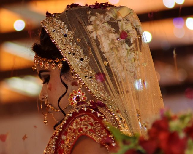 EyeEm Selects Only Women One Woman Only Adult Close-up Indoors  Night Headshot Bride Indian Bride India Culture Arts Culture And Entertainment Multi Colored Indian Tradation