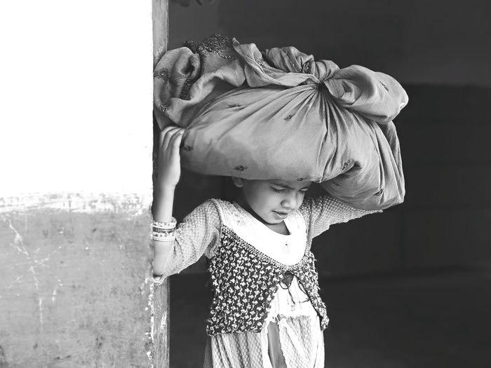 Eeyem Photography EE_Daily: Black And White EeYem Best Shots Ee_daily Eeyemgallery Eeyem Village Life Village Happiness Little Girl Smile Playing Children EyeEm Selects Girl Madhya_Pradesh Child Childhood Warm Clothing Girls Standing Sun Hat Waist Up Sky Innocence