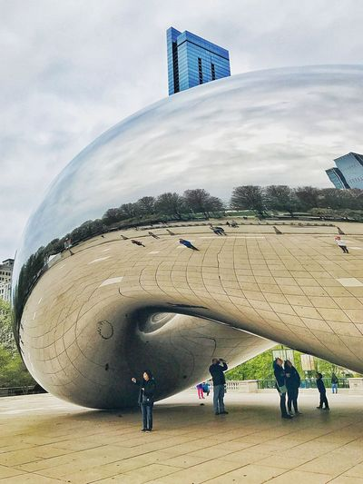 Morning gift 💝 to myself, bean time at the park .... Chicago Is My City Chicago Sunday Morning People Reflections Reflections City Outdoor Photography Chicago Architecture Streetphotography EyeEm Best Shots EyeEm Gallery Urban Geometry Urban Skyline Urban Streetphotography Street Sky Beach Land Water Group Of People Architecture Nature