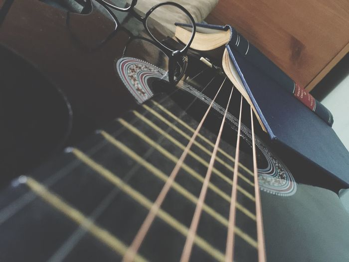 Glasses? Book Musical Instrument Musical Equipment Music Acoustic Guitar