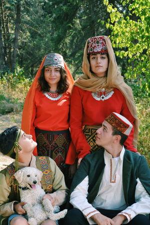Armenian National ''Taraz'' ~ Friends People Joy Armenia Summer Travel Day Outdoors Nature Portrait Beauty In Nature Shamshadin Berd Family Taraz Dog National Dress Urban Fashion Jungle