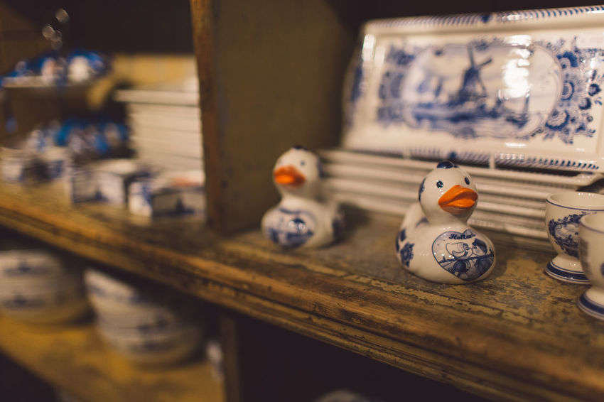 Porcelain  Craft Duck Ducth Indoors  Object Selective Focus Shelf Traditional
