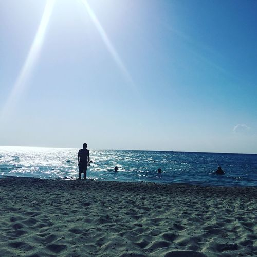People And Places Sea Horizon Over Water Silhouette Vacations Blue Greece Sand See The Light
