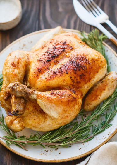 Ready-to-eat Food Food And Drink Meat Roasted Meal Freshness Close-up Chicken Meat Chicken White Meat Fork Indoors  Kitchen Utensil Still Life Healthy Eating Plate High Angle View No People Roast Chicken Dinner Herb Tray Setting