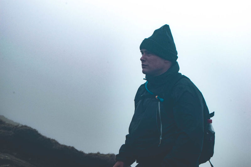 Adult Adults Only Adventure Cold Temperature Day Fog Lifestyles Men Mountain Nature One Man Only One Person Only Men Outdoors Pen-y-ghent People Real People Silhouette Sky Snow Three Peaks Waist Up Warm Clothing Winter Young Adult