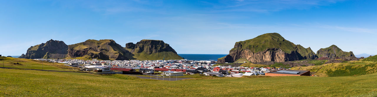 Panoramic view of the downtown of vestmannaeyjar, heimaey island, westman islands, iceland.