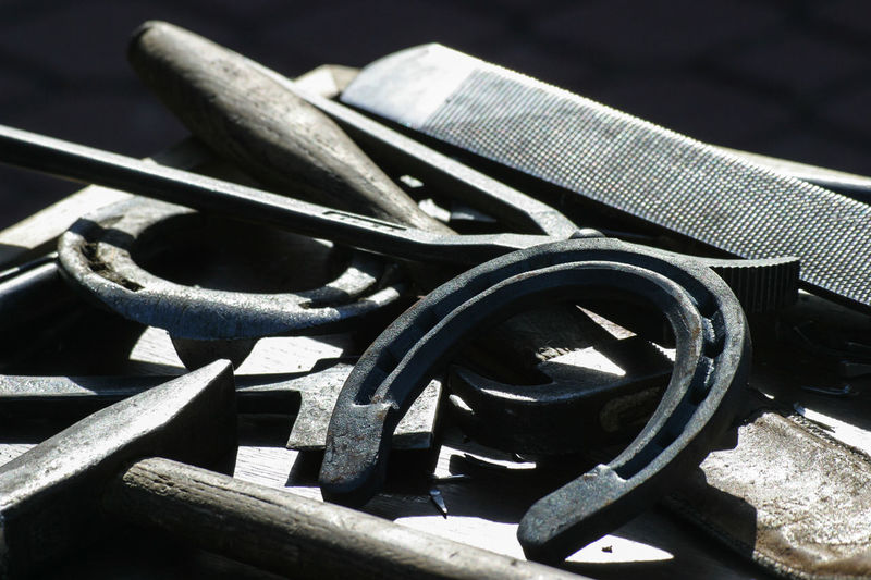 Blacksmith  Horse Shoes Horseshoe Horseshoes Shoe Blacksmith Tools Blacksmithing Equipment Farrier Farrier Equipment Group Of Objects Hammer Horse Care Horse Shoe Horseshoeing Iron - Metal Metal No People Rasp Smith Strength Tool Tools Toolset Work Tool The Still Life Photographer - 2018 EyeEm Awards
