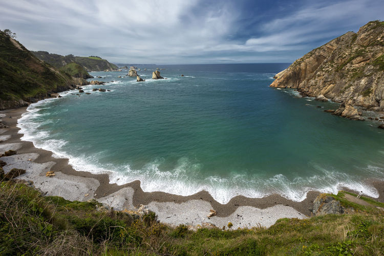 Scenic view of sea against sky playa del silencio